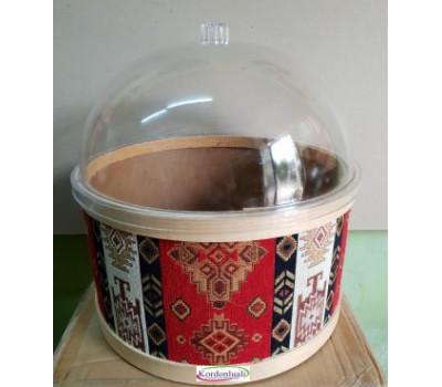 Kilim Desenli Turşu Zeytin Peynir Kabı Çap 35 cm Kapaklı