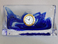 Şurup Masa Saati Kuvars Rengi Cam Koleksiyonluk
